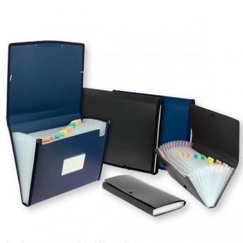 Clasificador fuelle semi-rígido con departamentos interiores tamaño recibo color azul
