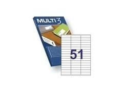 MULTI3 Etiqueta i/l/c adh.permanent.A4 c-100hoj 70x16,9mm 5100unds
