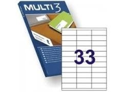 MULTI3 Etiqueta i/l/c adh.permanent.A4 c-100hoj 70x25,4mm 3300unds