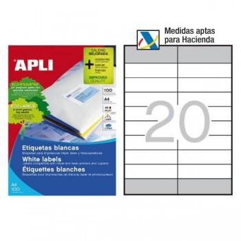 APLI Etiqueta i/l/c adh.perm.c/recto a4 c-100 (4*105x33,5mm + 18*105x28,75 mm 2000unds) HACIENDA