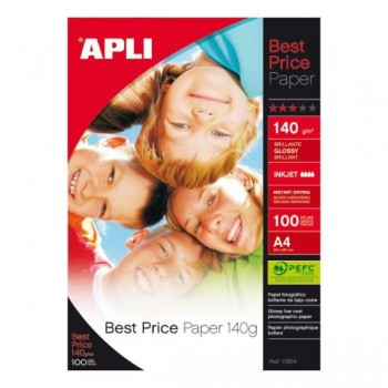 APLI Din A-4 photo glossy inkjet 140gr. 100 hojas best price