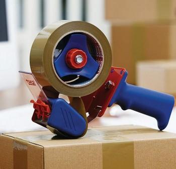 Dispensador de precinto tesapack   Economy para rollos de 66 metros rojo/azul