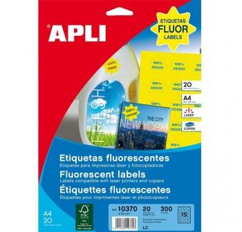 APLI Etiqueta laser adh.estrella amarillo fluorescente c-20 (300unds)