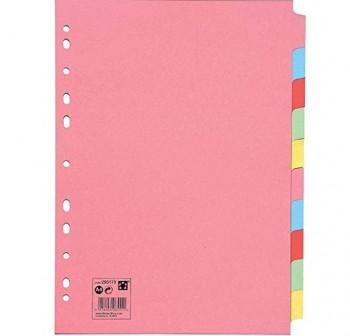 GRAFOPLAST Separador de cartulina 10 colores DIN A-4 11taladros