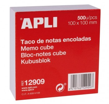 APLI Taco nota blanco 10x10mm 500hojas