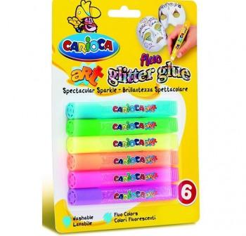 CARIOCA Estuche glitter glue stick 6colores con purpurina