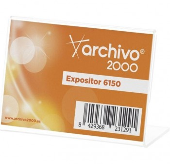 "ARCHIVO2000 Expositor de sobremesa metacrilato en \""L \"" horizontal 1 caras 90x65mm 6150"