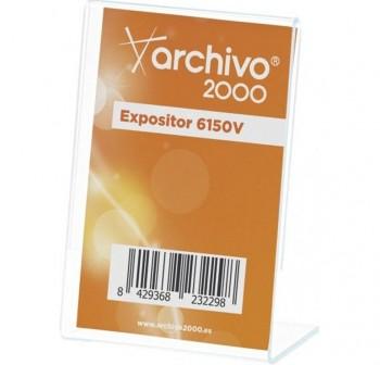 "ARCHIVO2000 Expositor de sobremesa metacrilato en \""L \"" vertical 1 caras 65x90mm 6150V"