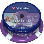 VERBATIM DVD+R 16X 4,7GB verbatim printable (tarrina de 25)