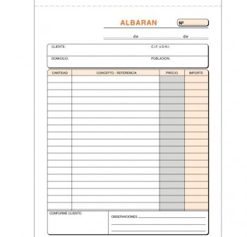 VIPESA Talonario de albaranes 4º duplicado