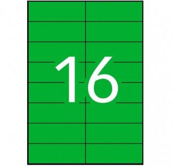APLI Etiqueta i/l/c perm.c/rect.A4 100h.colore 105x37mm VERDE 1600etiquetas