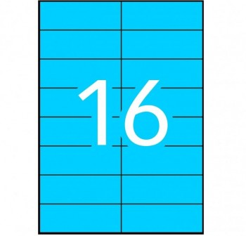 APLI Etiqueta i/l/c perm.c/rect.A4 100h.colore 105x37mm AZUL 1600etiquetas