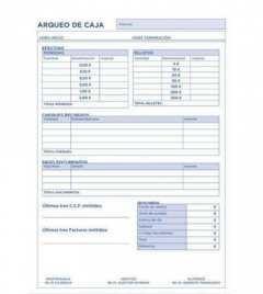 VIPESA Talonario de arqueo caja folio