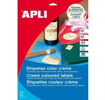 APLI Etiqueta i/l/c adh.perm. a4 (70x20mm 360unds) crema (PUROS)