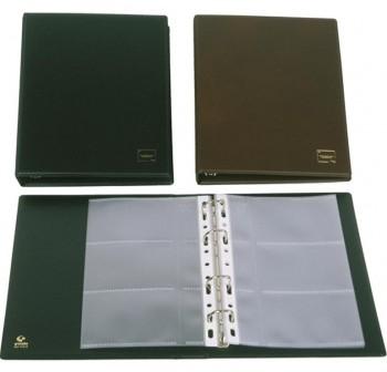 GRAFOPLAS Tarjetero basic PVC 4 anillas 20mm 10 Fundas 60 tarjetas 10,5x6,8cm negro