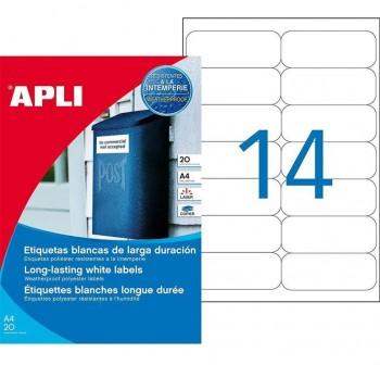 APLI Etiquetas l/c resistentes a la interperie blanco 45,7x21,2mm 20hojas