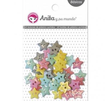 ANITA PACK 40 BOTONES SURT ESTRELLA PLASTICO