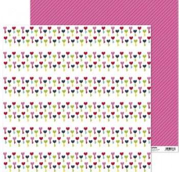 PACK5 PAPEL SCRAP 12x12LLAVES CON AMOR