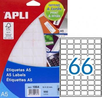APLI Etiqueta imprime y escr.manual adh.perm.c/rromos A-5 16x22 990udes