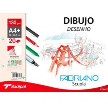 FABRIANO Block de dibujo scuola espiral DIN-A4 con recuadro con taladro 130gr. 230x325 20 hojas