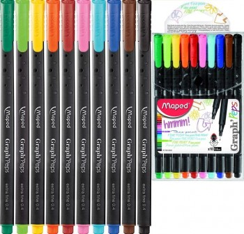 "MAPED Pack de 10 rotuladores de colores de punta fina ""graph'peps\"""