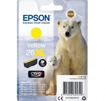 EPSON Cartucho inkjet T2634 original AMARILLO 700p Nº26XL (oso polar)