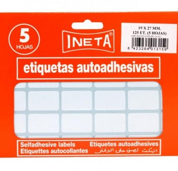INETA Etiqueta en sobre de 10 hojas 12x30 350udes