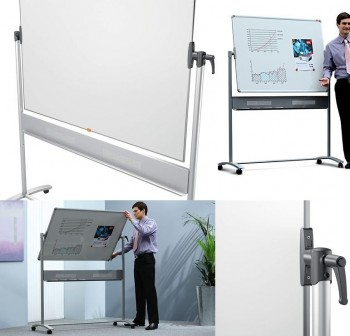 NOBO Pizarra blanca movil horizontal marco aluminio 150x120cm acero vitrificado