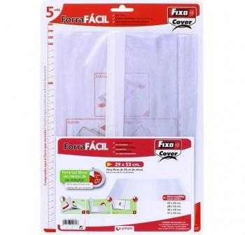FIXO Pack de 5 forralibro con adhesivo transparente 52x31mm