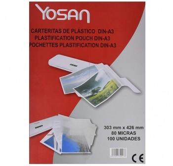 YOSAN Lamina plastificar adhesiva 303x426 (A4) 80micras