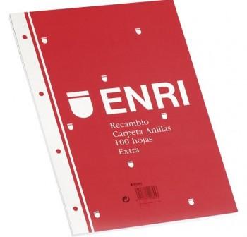 ENRI Recambio 100 hojas 4 taladros FOLIO C-3mm.