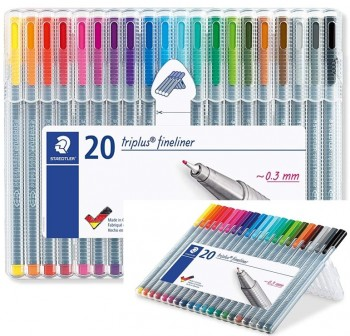 Pack 20 Rotuladores punta fieltro fina triplus fineliner trazo 0,3Mm colores surtidos