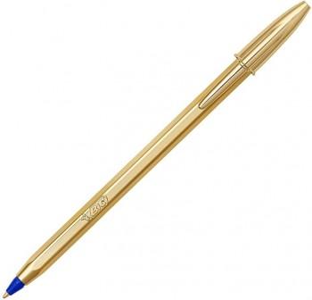 Bolígrafo Bic cristral cuerpo dorado azul