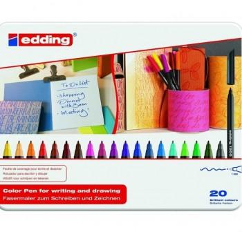 Estuche de metal 20 rotuladores edding 1200 colores surtidos