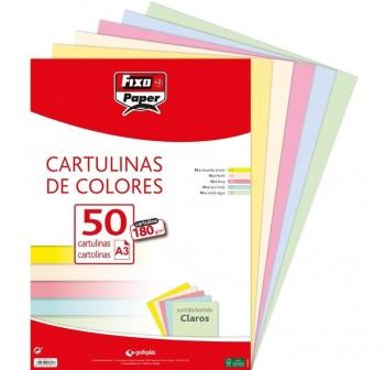 FIXO Pack 50h cartulina paper 180gr A3 surtidos 10x5colores claros