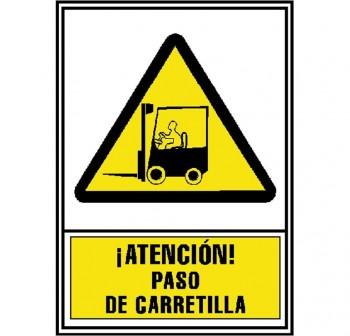 Señal normalizada PVC ¡Atencion! Paso de carretilla 297x210cm