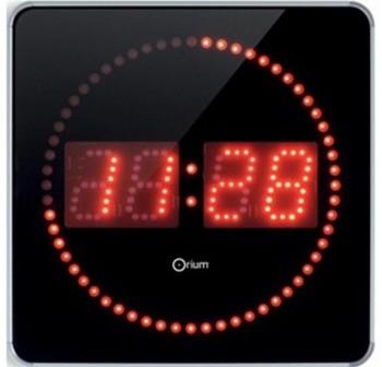 ORIUM Reloj de pared digital de led 28x28x2,5cm negro/plata