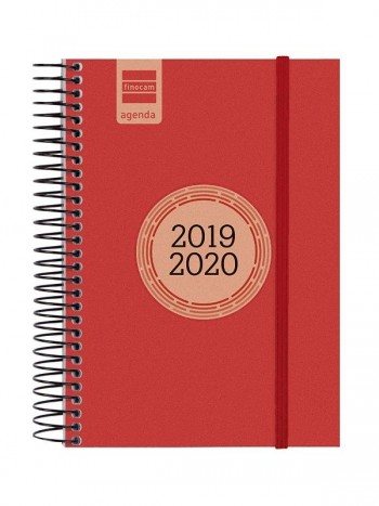 FINOCAM Agenda espiral E8 LABEL 1 dia pagina 2019-2020 ESCOLAR INSTITUTE ROJO