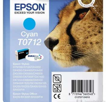Cartucho Ink-Jet Epson C13T07124021 Blister+alarma cian