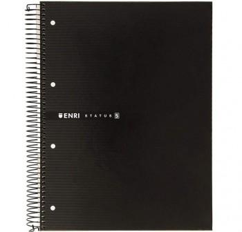 ENRI Cuadernos tapa contracolada A4 160h cuadricula 5x5 NEGRO