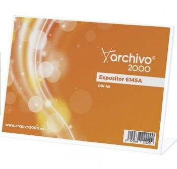 """ARCHIVO2000 Expositor de sobremesa metacrilato en \""""L \"""" 1 caras A5 HORIZONTAL 6145A"""