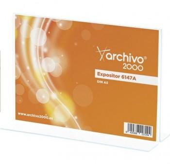 """ARCHIVO2000 Expositor de sobremesa metacrilato en \""""T \"""" 2 caras A5 HORIZONTAL 6147A"""