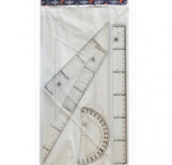 DFH Juego de reglas esc.+ cart + reglas + semicirculo en estuche de 30cm
