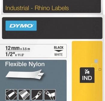 Cinta Dymo Rhinopro nylon 12mmx3,5m negro/blanco