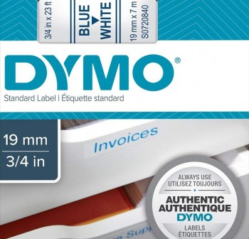 Cinta Dymo D1 19mmx7m azul/blanco