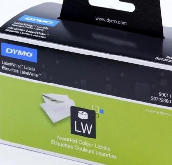Caja 4 Rollos 130 etiquetas dirección Dymo Labelwriter 89x28mm amarillo, rosa, azul y verde