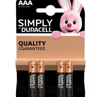 Blister 4 pilas duracell alcalina simply AAA