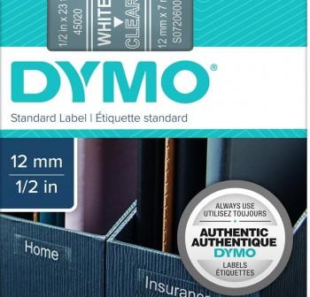 Cinta Dymo D1 12mmx7m blanco/transp