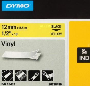 Cinta Dymo ID12 vinilo 12mmx5,5m amarillo