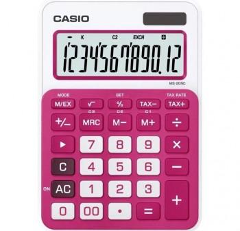 Calculadora de sobremesa casio MS20nc 12 dígitos rosa